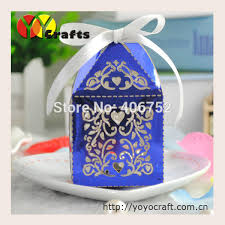 candy favor boxes wholesale metallic blue laser cut party wedding favors and gifts box with