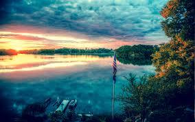 American Flag Sunset American Flag Flag Lake Clouds Sunset Dock Hd Wallpaper Nature