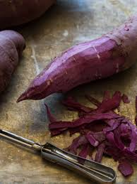 how to make sweet potato for thanksgiving mashed purple sweet potatoes side dish recipe spoon fork bacon