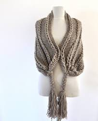 braided scarf light brown scarf braided scarf cowl fringe scarf gift for
