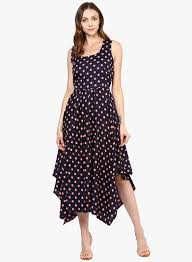 coloured dress buy mbe navy blue coloured printed asymmetric dress for women