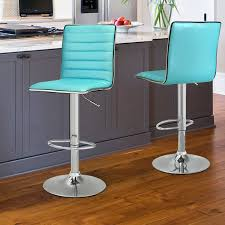 Aqua Leather Chair Joveco Modern Hydraulic Lift Adjustable Leather Bar Stools Set