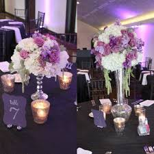 Purple Flower Centerpieces by Fall Wedding Posh Floral Designs