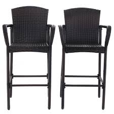 Outdoor Counter Height Chairs 2 Pcs Rattan Bar Stool Set High Chairs Outdoor Chairs Outdoor