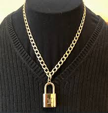 chain lock necklace images Authentic louis vuitton lock with curb chain choker necklace jpg