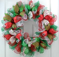 mesh christmas wreaths traditional emerald green white mesh christmas front door