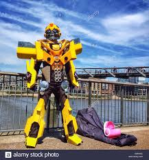 the transformers a street performer dressed as bumblebee from the transformers