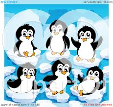 cartoon of cute penguins playing on ice bergs royalty free