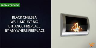 black chelsea wall mount bio ethanol fireplace