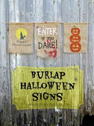 cut craft create burlap halloween signs plus halloween party