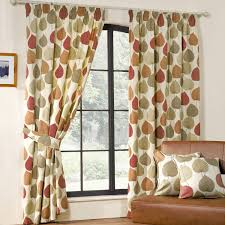 Orange And White Curtains White Fabric Curtains With Green And Orange Leaves Pattern
