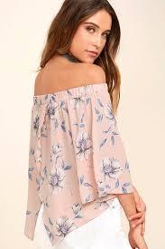 light pink top women s cute blush pink top off the shoulder top flora print top