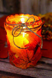 how to make easy fall leaf candle mason jar crafts