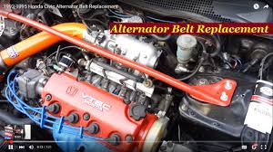 1992 1995 honda civic alternator belt replacement youtube