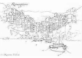 Manarola Italy Map by Cinque Terre Italy Pen Drawing Print Manarola Riomaggiore