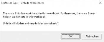 unhide all hidden and very hidden sheets in excel at once