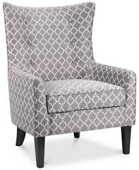 Grey And White Accent Chair Brie Printed Fabric Accent Chair Ship Furniture Macy S