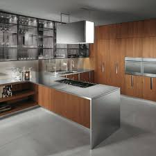 Steel Kitchen Cabinet Cool Stainless Steel Cabinets With Wooden Wall Kitchen