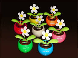 flip flap solar power flower decor apple pot plant