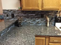 Gray Backsplash Kitchen by Decorating Grey Backsplash With Laguna Blue Random Pattern Glass