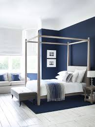 Navy Accent Wall by Wardley Four Poster Bed In Oak Simple And Elegant Shakerstyle