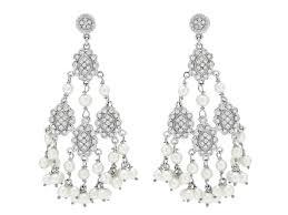 pearl chandelier diamond and seed pearl chandelier earrings in 18k wh 510515