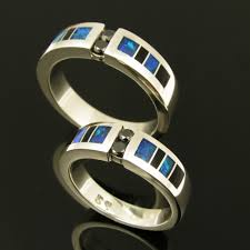 Opal Wedding Ring Sets by Black Diamond Sterling Wedding Ring Set Inlaid With Onyx And Opal