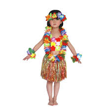 kids hawaiian hula grass skirt lei headband wristband fancy dance