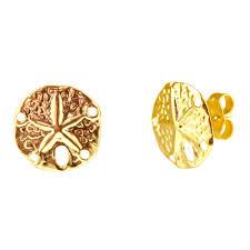 sand dollar earrings in 14kt yellow gold