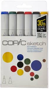 amazon com copic markers 6 piece sketch set bold primaries