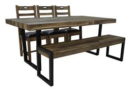 Dining Table 4 Chairs And Bench Flea Market Dining Table 4 Chairs U0026 Bench In Natural Rustic