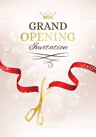 grand opening ribbon grand opening invitation card with cut ribbon and gold stock