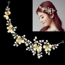 floral headdress gold color wedding hair ornaments bridal hair accessories floral