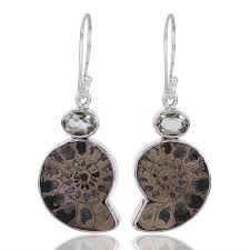 green amethyst earrings green amethyst and pyarite ammonite gemstone 925 sterling