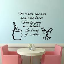 compare prices on simple wall decor online shopping buy low price in water one sees ones own face wine bottle and glasses wall decals removable simple
