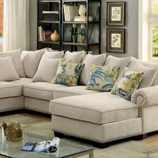Fabric Sectional Sofas Skyler Transitional Ivory Fabric Sectional Sofa Shop For