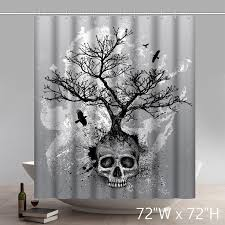 Unique Fabric Shower Curtains Creative Skull Tree Home Decor Day Of The Dead Polyester Fabric