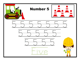 construction number tracing printable preschool printables