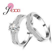 2pcs lot new arrival simple style ring cz men ring fashion jexxi anti allergy 2pcs lot cz paved engagement rings set fashion
