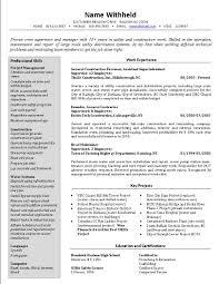 construction resume sample construction crew supervisor resume