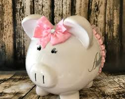 customized piggy bank baby girl banks etsy