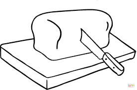 bread on cutting board coloring page free printable coloring pages