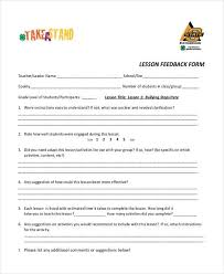 lesson feedback form template beautifuel me