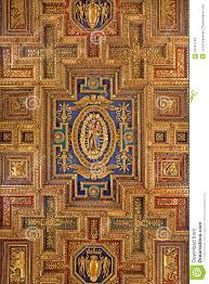 rome carved renaissance ceiling of church santa maria aracoeli