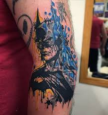 abstract style colored elbow tattoo of batman tattooimages biz