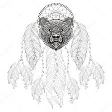 hand drawn zentangle dreamcatcher with bear head for color