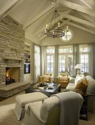 Cathedral Ceilings In Living Room Chunky Jute Rugs Vaulted Ceiling Fireplace Flanked By
