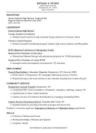 examples of resumes for high students