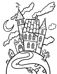printable haunted house coloring page free pdf download at http