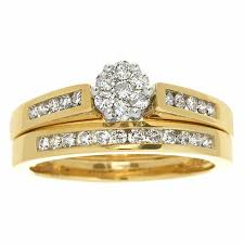 gold bridal sets 1 ct t w diamond flower bridal set in 10k gold 1 carat rings